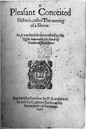 Chronology of Shakespeare's plays - 1596 second quarto of A Shrew