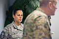 A U.S. Airman, left, listens to U.S. Marine Corps Sgt. Maj. Bryan B. Battaglia, the senior enlisted adviser to the Chairman of the Joint Chiefs of Staff, speak to her Airman Leadership Class at Joint Base 140307-D-KC128-156.jpg