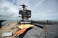 A U.S. Navy X-47B Unmanned Combat Air System demonstrator aircraft is lowered onto an aircraft elevator from the flight deck of the aircraft carrier USS George H.W. Bush (CVN 77) in Norfolk, Va., May 6, 2013 130506-N-YZ751-663.jpg