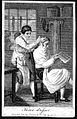 A barber dressing a man's hair. Engraving by Tomlinson. Wellcome L0019293.jpg