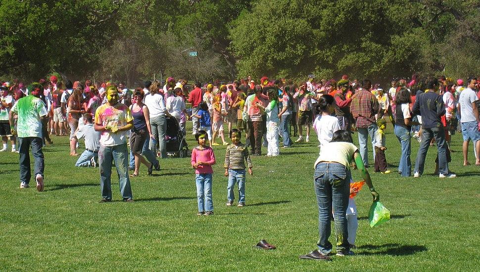 A celebration of Holi festival at Stanford University United States, 2009