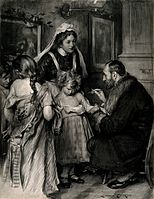 A doctor vaccinating a small girl, other girls with loosened Wellcome V0016682.jpg