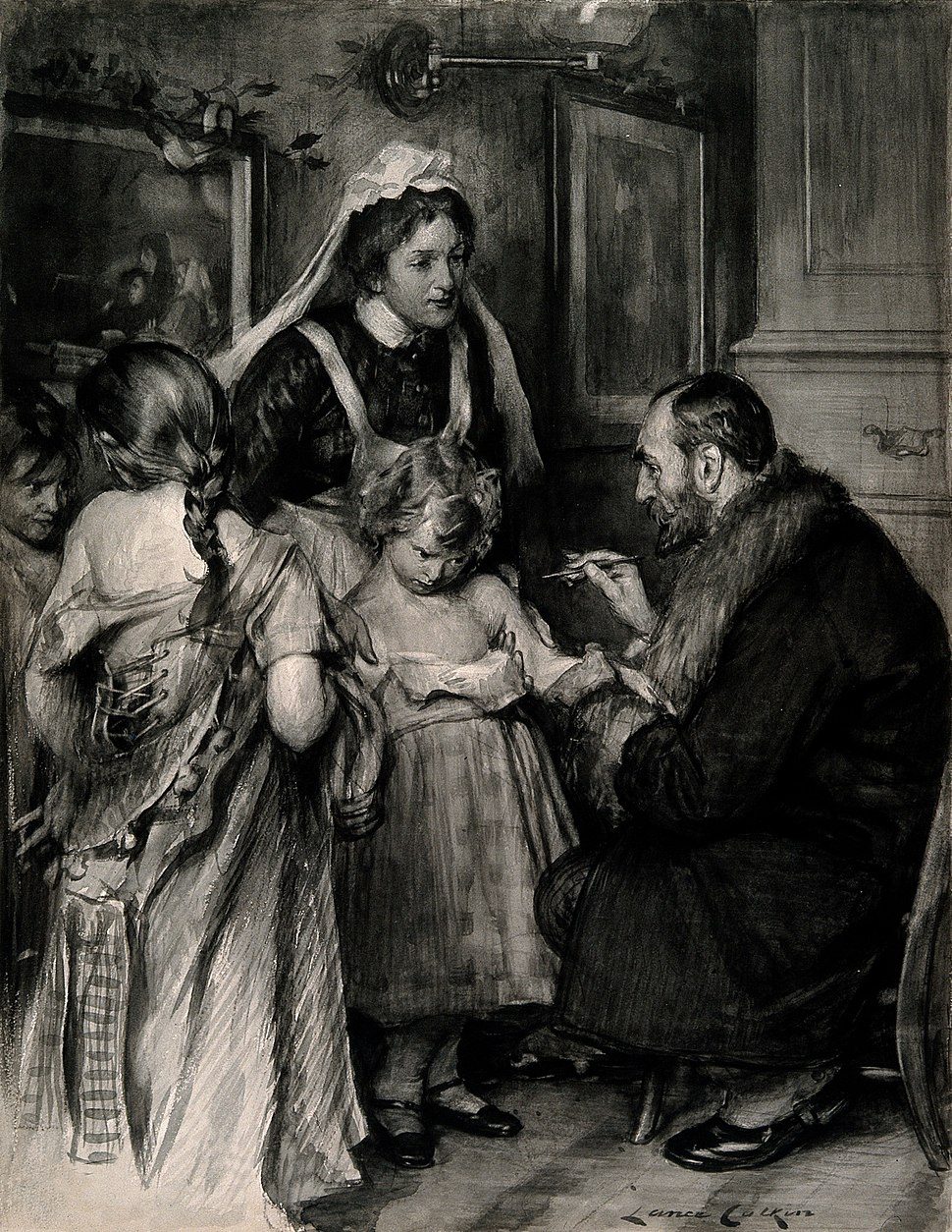 A doctor vaccinating a small girl, other girls with loosened Wellcome V0016682