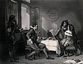 A man reads a letter while the two women appear to be specul Wellcome V0038728.jpg