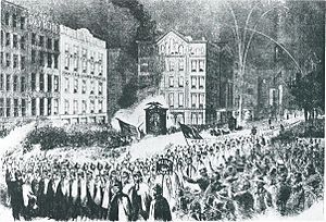 Wide Awakes - A Wide Awakes parade in Lower Manhattan, one of a series of political rallies held in New York, Philadelphia, Chicago, Cleveland, and Boston during the first week of October 1860.