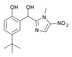 Partially condensed, Kekulé, skeletal formula of abunidazole