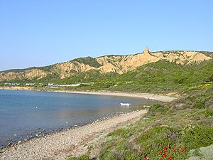 Battle for No.3 Post - Anzac Cove in 2004, showing the North Beach, The Sphinx, and on the left rear Walker's Ridge stretching down to the sea. This is where the New Zealand Mounted Rifles Brigade were deployed.