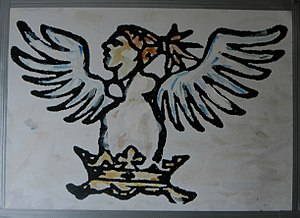 De Salis - Adapted early example of the von Salis family crest, Bellona.