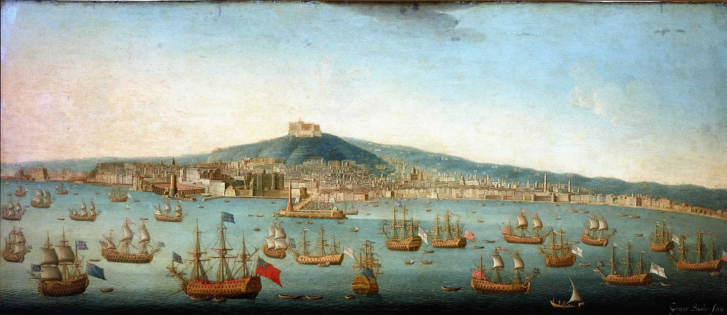 View of the Bay of Naples with Admiral Byng's Fleet at Anchor, 1 August 1718. Painting by Gaspar Butler. Admiral Byng's Fleet at Naples.jpg
