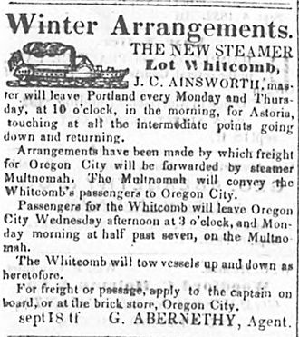 George Abernethy - Advertisement for steamer Lot Whitcomb, naming George Abernethy as agent