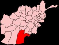 Map of Afghanistan with Kandahar قندھار highlighted.