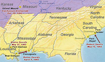 A Map Of Early African American Involvement In The Civil War