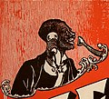 African American man with telephone art detail from sheet music cover- Hello Ma Baby (cropped).jpg