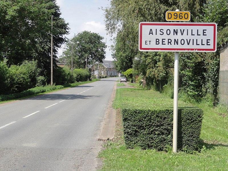 Aisonville-et-Bernoville (Aisne) city limit sign