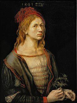 El primer Autorretrato pintado por Albrecht Dürer (1493); originalmente hecho en óleo sobre papel vitela, y ahora transferido a lino. Louvre, París.