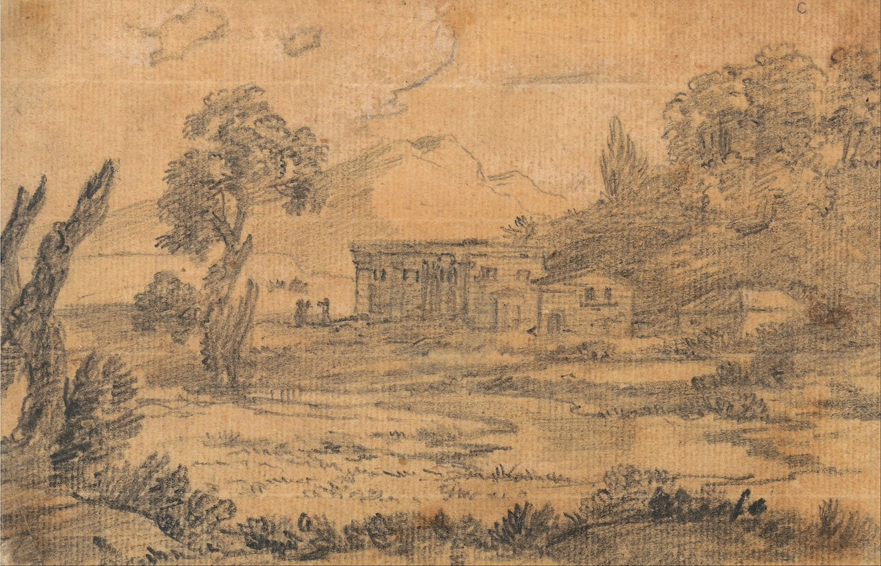 File Alexander Cozens Buildings By A River With Hills In