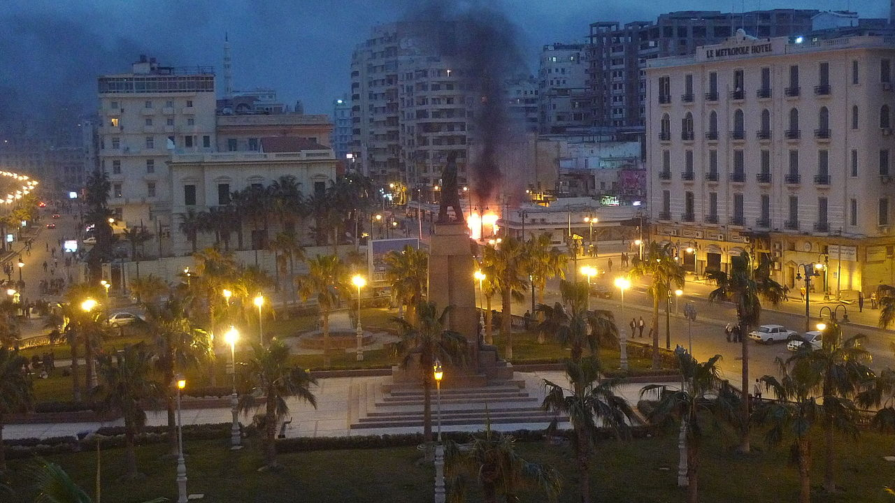 File:Alexandria at night, some government offices still on ...