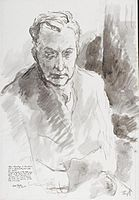 Alfred Rosenberg in his Prison Cell at Neumunster, just after his capture (Art.IWM ART LD 5591).jpg