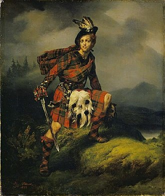 A Legend of Montrose - Allan M'Aulay, by Horace Vernet, 1823. M'Aulay holds the severed head of Hector MacEagh. This scene is not depicted in the novel.