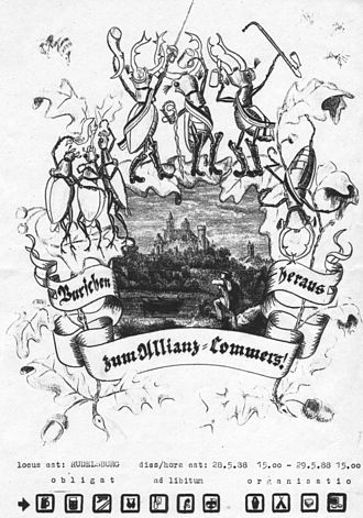 Commercium - Image: Allianzkommers Einladung 1988