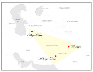 Bactria–Margiana Archaeological Complex - Altyn-Depe location on the modern Middle East map as well as location of other Eneolithic cultures (Harappa and Mohenjo-daro).
