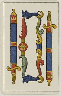 Aluette card deck - Grimaud - 1858-1890 - Two of Swords.jpg