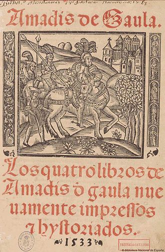 Knight-errant - Title page of an Amadís de Gaula romance of 1533