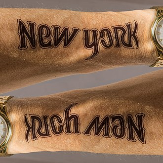 Handmade ambigram for a tattoo << New York / Rich Man >> Ambigram tattoo New York Rich Man.jpg