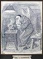 An alchemist with angel's wings and a skull cap, pouring flu Wellcome V0025605.jpg
