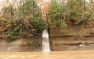 Waterfall - An example of an ephemeral waterfall. This one, when flowing, feeds into the Chagrin River (Ohio).