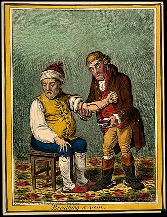 Heroic medicine - Etching of bloodletting done by a physician. (James Gillray, 1804)