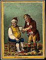 An ill man who is being bled by his doctor. Coloured etching Wellcome V0011195.jpg