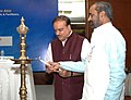 """Ananthkumar and the Minister of State for Chemicals & Fertilizers, Shri Hansraj Gangaram Ahir lighting the lamp at the launch of the """"2015 – Year of Active Pharmaceutical Ingredients"""", in New Delhi on February 25, 2015.jpg"""