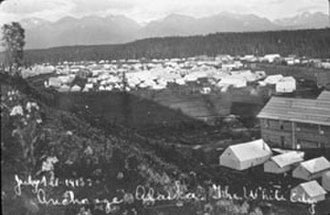 "Anchorage, Alaska - The tent city (called ""The White City"" in the handwritten caption) in Ship Creek, photographed by Alberta Pyatt on July 1, 1915."