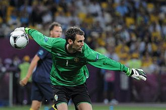 Andreas Isaksson - Isaksson playing for Sweden at UEFA Euro 2012.