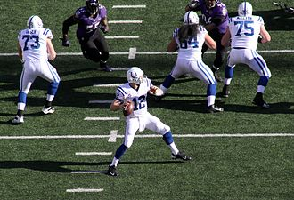 Andrew Luck - Luck vs. the Ravens during a Wild Card playoff game on January 6, 2013.