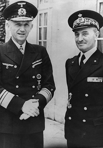 Donitz and his Italian counterpart Admiral Angelo Parona in 1941 Angelo Parona and Karl Doenitz.jpg