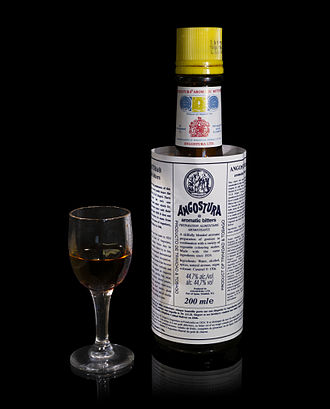 Bitters - A bottle of Angostura aromatic bitters with its distinctive, oversized label