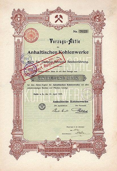 https://upload.wikimedia.org/wikipedia/commons/thumb/d/da/Anhaltische_Kohlenwerke_1000_Mk_1909.jpg/412px-Anhaltische_Kohlenwerke_1000_Mk_1909.jpg