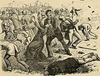 """Reading Railroad massacre - """"The Scene After the First Volley."""" A contemporary illustration."""