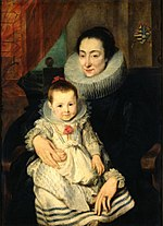 Anthonis van Dyck - Portrait of Maria Clarisse, Wife of Jan van den Wouwer, with her child.jpg