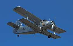 Antonov An-2 (LY-BIG, OY-SAK) on display at Danish Air Show 2014-06-22.jpg