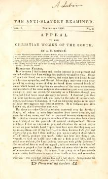 Appeal to the Christian women of the South (Grimké, 1836).djvu