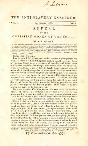 File:Appeal to the Christian women of the South (Grimké, 1836).djvu