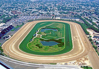 Aqueduct Racetrack - Aerial view of Aqueduct's main track, inner dirt track and turf course, 2010