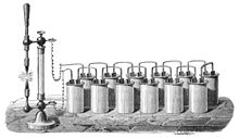 Early Experimental Carbon Arc Light Powered By Liquid Batteries Similar To Davys
