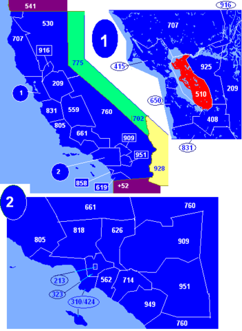 Map of California area codes in blue (and border states) with 510 in red