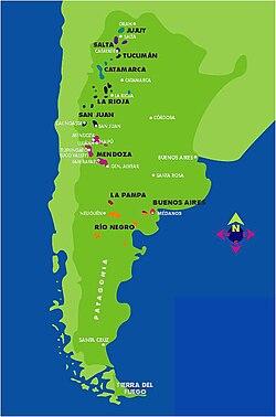 Mapa de Argentina, marcando regiones de vitivinicultura