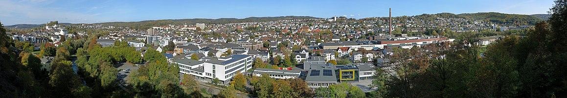 Panoramic view from Ehmsendenkmal over Arnsberg.