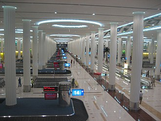 Dubai International Terminal 3 - The baggage claim area in the arrivals hall of Terminal 3.